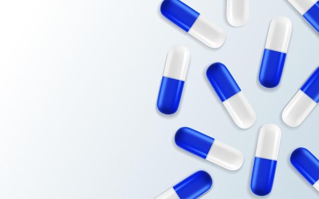 3d реалистичные медицинские таблетки. капсулы. Premium векторы