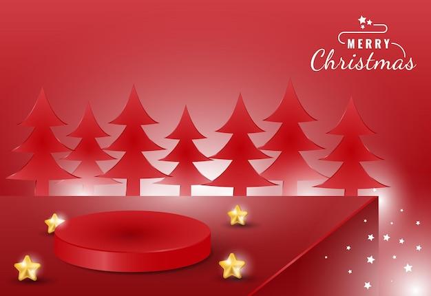 製品ディスプレイ用の3dリアルなメリークリスマス表彰台バナー