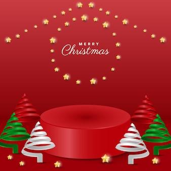 연단, 별, 나선형 나무가 있는 3d 현실적인 메리 크리스마스