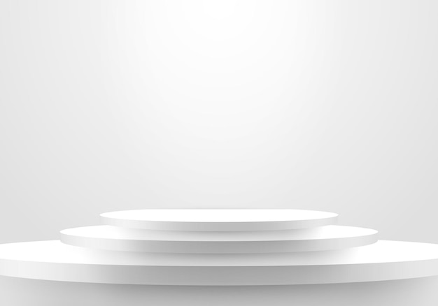3d realistic minimal scene empty white steps stair winner space on clean background. vector illustration