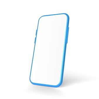 3d現実的なモックアップスマートフォンの空の画面の正面図は白い背景で隔離