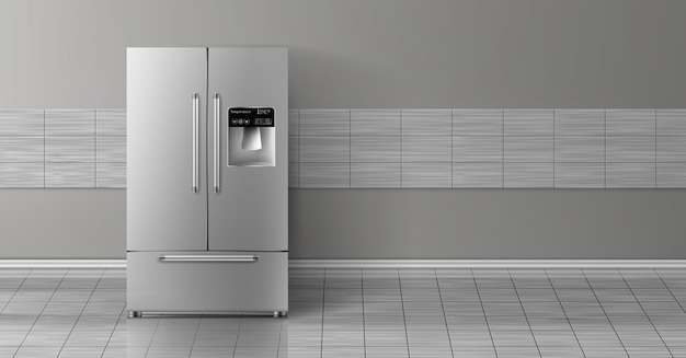 3d realistic mock up with gray two-chambered refrigerator isolated on tile wall.