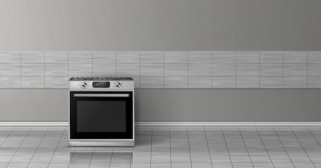 3d realistic mock up with modern silver steel stove isolated on gray tile wall.