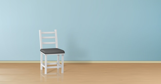 3d 현실 파란색 벽에 고립 된 흰색 나무의자를 모의