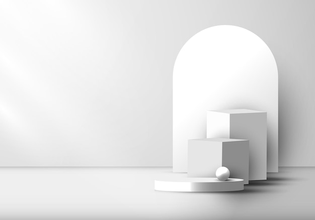 3d realistic modern white and gray geometric pedestal podium with rounded backdrop. minimal wall scene mockup for product display presentation, etc. vector illustration