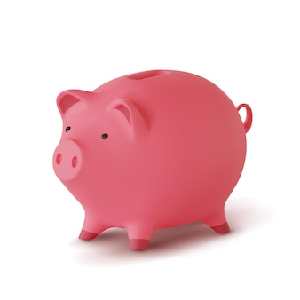 3d realistic moneybox in the form of a pig isolated on white background,