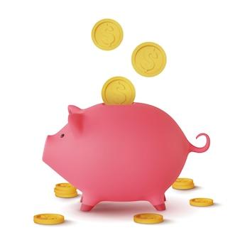 3d реалистичная копилка в виде свиньи и падающих монет