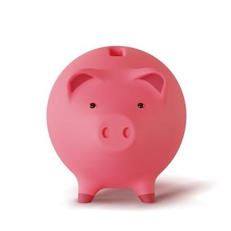 흰색 배경에 고립 된 돼지의 형태로 3d 현실적인 저금통,