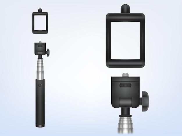스마트 폰, 사진, selfie 스틱 전화 홀더에 대 한 3d 현실 모노 포드.