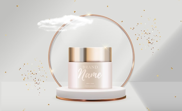 3d realistic natural beauty cosmetic product for face or body care on glossy bokeh background