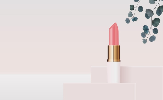 3d realistic natural lipstick on pink podium design template of fashion cosmetics product