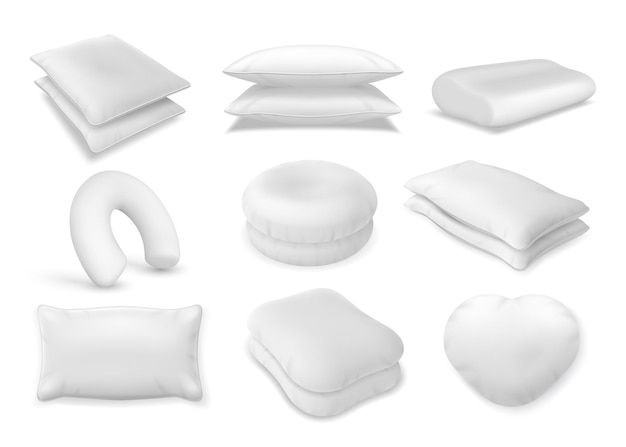 3d realistic neck pillow and sofa cushion mockup. fluffy bolster pile, heart beanbag top view. soft orthopedic and travel pillows vector set. round, rectangular and heart shape for comfort and decor