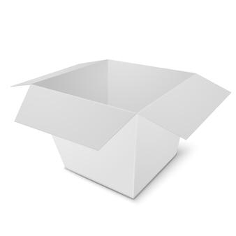 白い背景の上の3dリアルなオープンボックス