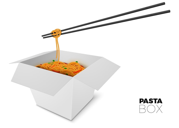 3d realistic open box with noodles and sticks on white background
