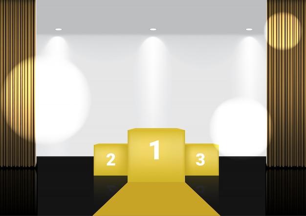 スポットライトを使用したショー、コンサート、プレゼンテーション用のメタリックステージまたは映画館の3dリアルなオープンゴールドカーテン