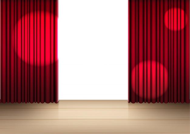 木製のステージまたはショー、コンサートまたはプレゼンテーションの図のための映画館の3 dの現実的な開いている赤いカーテン