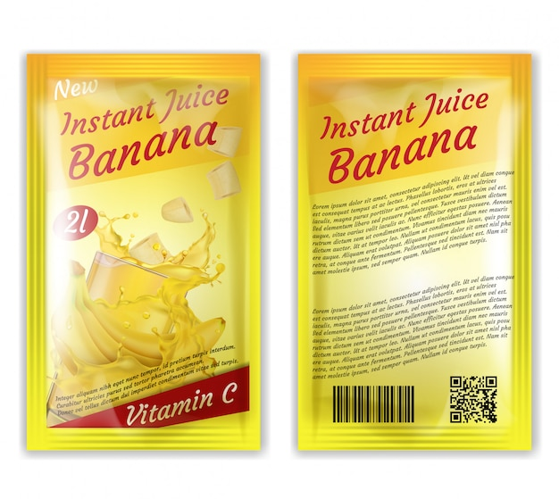 3d realistic package of instant juice isolated on white background.