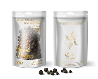3d realistic package of black pepper isolated on white background.