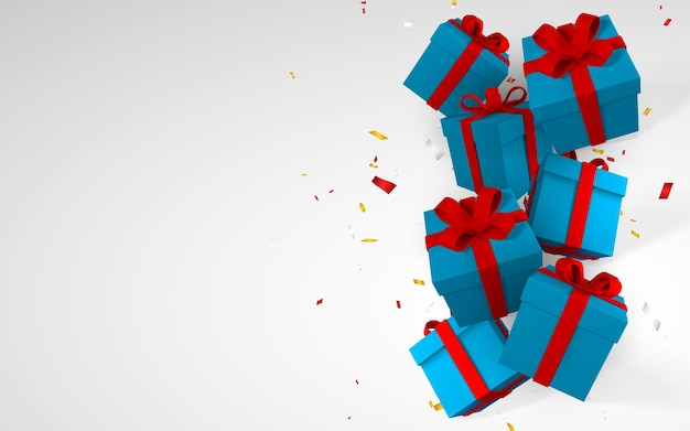 赤いリボンと弓が付いた3dリアルな紙の青いギフトボックス。白い背景に紙吹雪で落ちる紙箱。ベクトルイラスト。