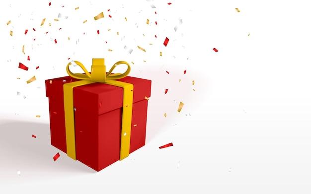 黄色いリボンと弓が付いた3dリアルな紙の赤いギフトボックス。紙吹雪と白い背景の上の紙箱。ベクトルイラスト。