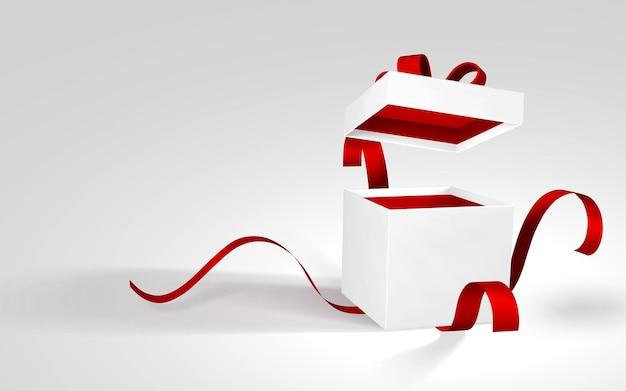 赤いリボンと弓が付いた3dリアルな紙の白いギフトボックス。白い背景の上の紙箱を開きます。ベクトルイラスト。