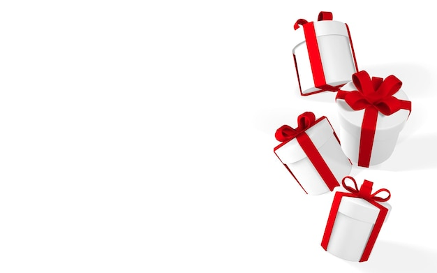 赤いリボンと弓が付いた3dリアルな紙の白いギフトボックス。白い背景に落ちる紙箱。ベクトルイラスト。