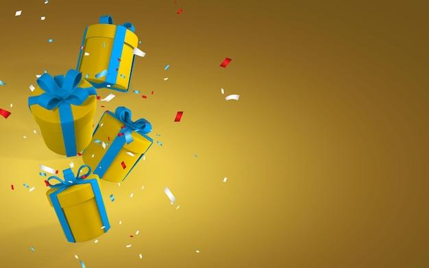 青いリボンと弓が付いた3dリアルな紙の黄色のギフトボックス。黄色の背景に紙吹雪で落ちる紙箱。ベクトルイラスト。