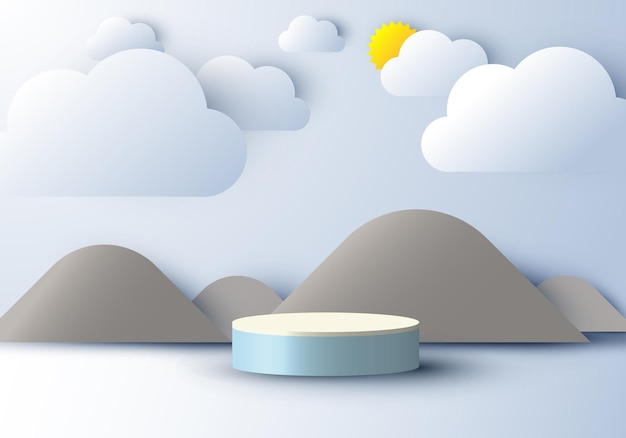 3d realistic pedestal display with nature scene mountain cloud and sun paper cut style on blue sky background. design for product presentation, mockup, etc. vector illustration