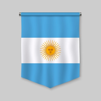3d realistic pennant with flag of argentina