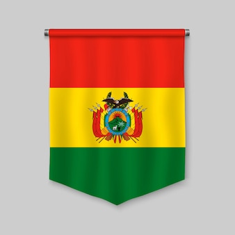 3d realistic pennant with flag of bolivia