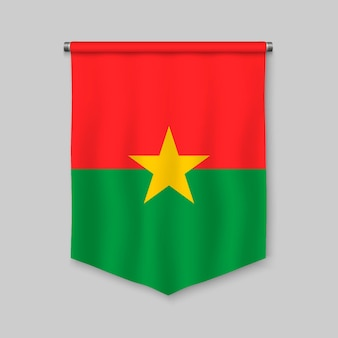 3d realistic pennant with flag of burkina faso