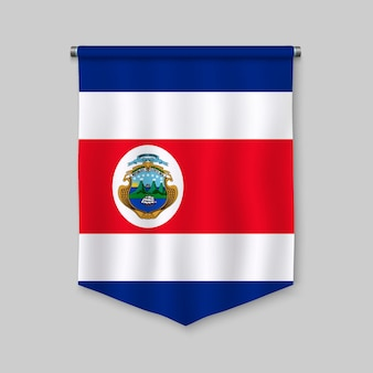 3d realistic pennant with flag of costa rica