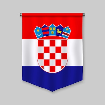 3d realistic pennant with flag of croatia