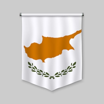 3d realistic pennant with flag of cyprus