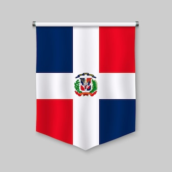 3d realistic pennant with flag of dominican repubic