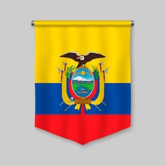 3d realistic pennant with flag of ecuador