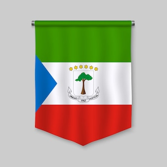 3d realistic pennant with flag of equatorial guinea