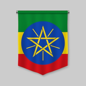 3d realistic pennant with flag of ethiopia