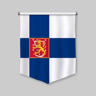 3d realistic pennant with flag of finland