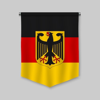 3d realistic pennant with flag of germany