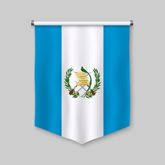 3d realistic pennant with flag of guatemala