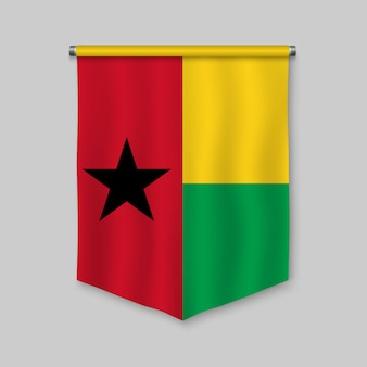 3d realistic pennant with flag of guinea-bissau
