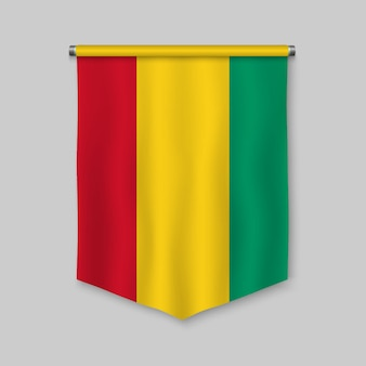 3d realistic pennant with flag of guinea