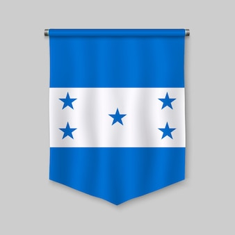 3d realistic pennant with flag of honduras