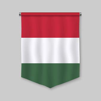 3d realistic pennant with flag of hungary
