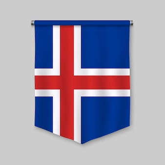 3d realistic pennant with flag of iceland