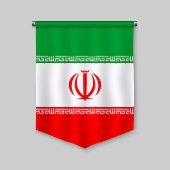 3d realistic pennant with flag of iran