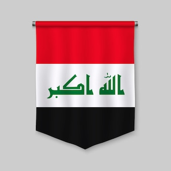 3d realistic pennant with flag of iraq
