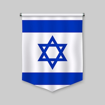 3d realistic pennant with flag of israel