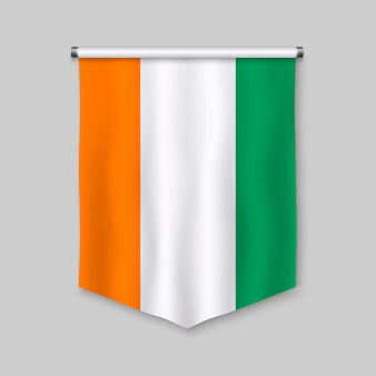 3d realistic pennant with flag of ivory coast